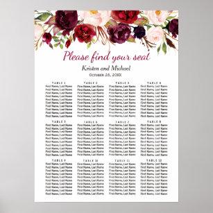 Póster Carta floral roja del asiento de la boda de