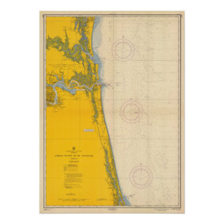 Póster Carta náutica Amelia Island St Augustine del