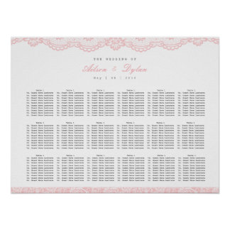 Póster Carta rosada romántica del asiento del boda del