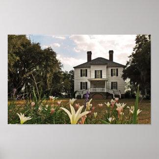 Póster Casa de la plantación de Hopsewee en invierno