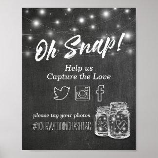 Póster Casar el tarro de albañil rápido de Hashtag