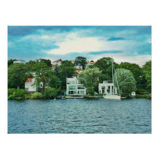 Póster Casas de la costa en Suecia