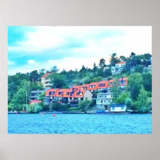 Póster Casas delanteras del lago, Suecia