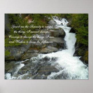 Póster Cascada del bosque del rezo de la serenidad