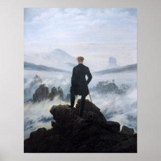 Póster Caspar David Friedrich el vagabundo sobre el mar