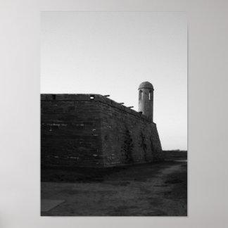 Póster Castillo de San Marcos St Augustine la Florida B&W