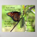 Póster Caterpillar/poster de la cita de la mariposa