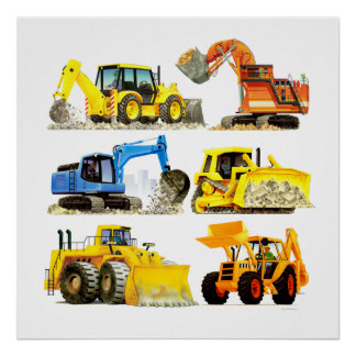 Póster Cavador y excavador masivos de la construcción de