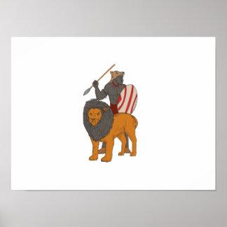 Póster Caza africana de la lanza del guerrero con el