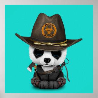 Póster Cazador del zombi del oso de panda del bebé