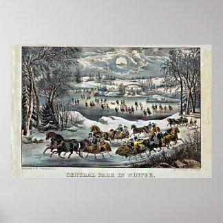 Póster Central Park en curtidor y Ives del invierno