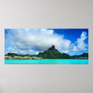 Póster Centro turístico tropical en panorama del poster