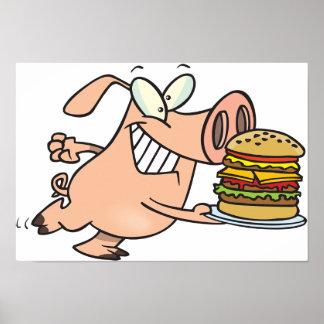 Póster Cerdo con un poster de la hamburguesa