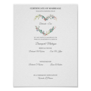 Póster Certificate of Marriage Floral Heart in Pink