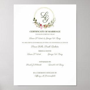 Póster Certificate of Wedding Red & Pink Floral Design