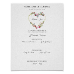 Póster Certificate of Wedding Red & Pink Floral Heart