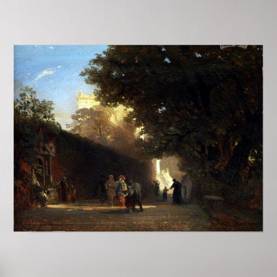 Póster Chalet y parque italianos de Oswald Achenbach