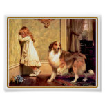 Poster: Chica con el mascota Sheltie Póster