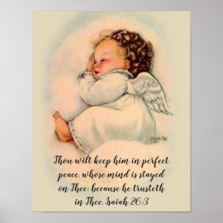 Póster Chica del ángel del bebé con cita de la escritura