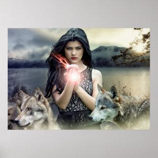 Póster Chica gótico místico con los lobos y la luz mágica