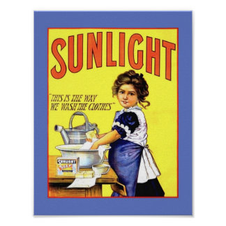 Póster Chica hermoso 1889 del jabón de lavadero de la luz