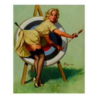 Póster Chica modelo del tiro al arco de la blanco de Gil