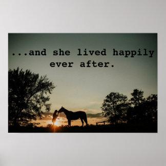Póster Chica que besaba el caballo ella vivió feliz