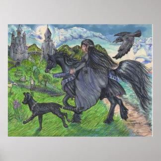 Póster Chica que monta el caballo negro con el gato del