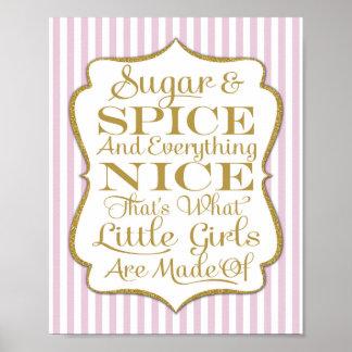 Póster Chicas rosados del azúcar y de la especia hechos