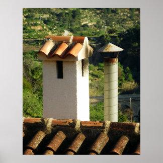 Póster Chimeneas y tejado