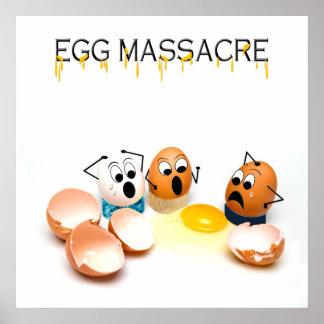 Poster chistoso de la masacre del huevo - huevos póster