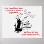 Poster chistoso del psicólogo de la escuela