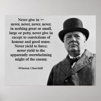 Póster Churchill nunca da adentro