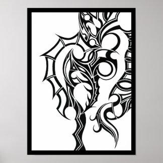 Póster Ciática - un diseño abstracto en blanco y negro