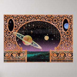 Póster Cielo nocturno en viaje interplanetario del ~ de