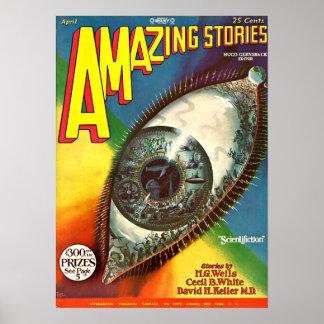 Póster Ciencia ficción futura espeluznante del vintage