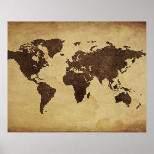 Póster Ciérrese para arriba del mapa del mundo antiguo 3