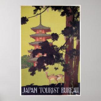 Póster Ciervos y templo del viaje de Japón del vintage