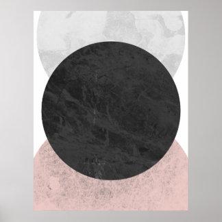 Póster Círculos blancos y grises rosados, poster