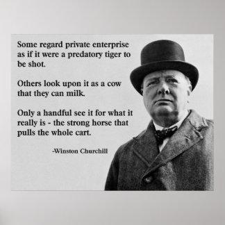 Póster Cita de la empresa libre de Churchill