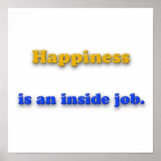 Póster Cita de la felicidad - la felicidad es un trabajo