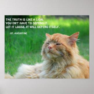 Póster Cita de la verdad de St Augustine del gato del