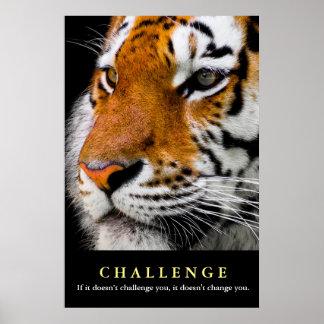 Póster Cita de motivación del desafío de la cara del