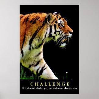 Póster Cita de motivación del desafío del tigre