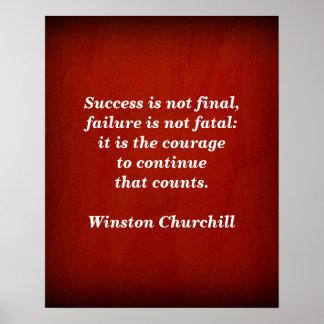 Póster Cita de Winston Churchill; Éxito