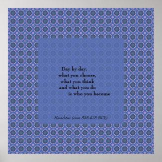 Póster Cita del estampado de flores azul bonito de