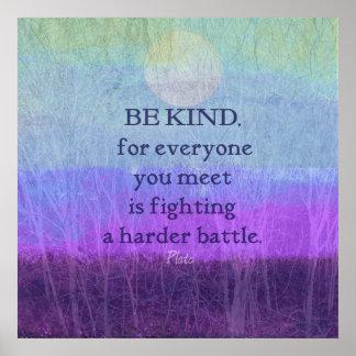 Póster Cita Platón de la compasión de la amabilidad