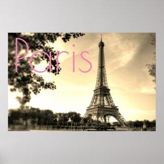 Póster Ciudad del amor de París de la torre Eiffel de la
