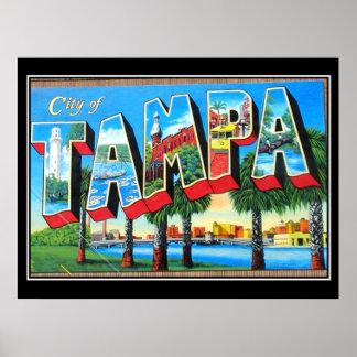 Póster Ciudad del poster del vintage de Tampa de Tampa