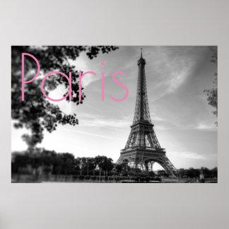 Póster Ciudad romántica del amor de París de la torre